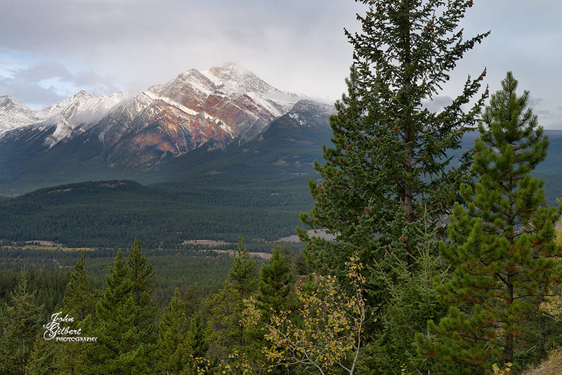 Scenic Overview 10/02/2013:  This is a view of Pyramid Mountains rising above the Athabasca Valley.