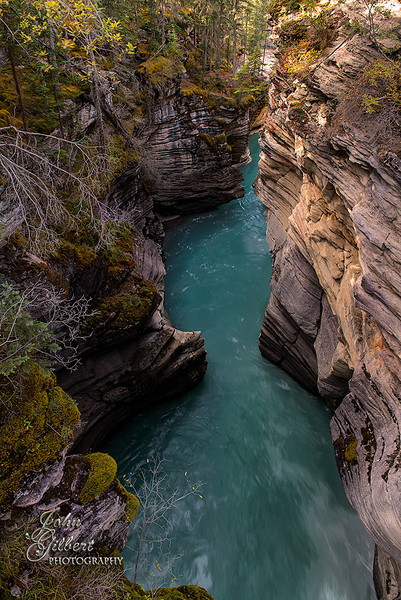 Athabasca Falls Canyon 09/30/2013:  The canyon is narrow and short.<br /> <br /> Nikon D600, 24-70mm lens @ 28mm. Aperture f/8, Shutter Speed .3 seconds, ISO 64, and -0.33EV.  Single shot, processed using PS6.  Tripod.