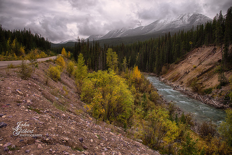 Medicine Delta 10/02/2013:  Canyon along the Maligne Rd.  Since it almost always snowed in the evenings our days always began overcast and on several occasions it would spit snow.  Most days we would get a break in the afternoon with skies clearing.