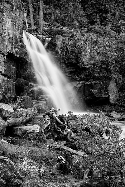 Tangle Creek Falls 10/01/2013: Side view in black and white of the lower fall.<br /> <br /> Nikon D600, 24-70mm lens @ 62mm. Aperture f/16, Shutter Speed 3.0 seconds, ISO 100, and  +0.67EV.  This consisted of three separate shots blinded together in PS6.  Processed using NIK Silver Eflex Pro.  ripod.