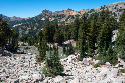 View from trail to Bumpass Hell, Lassen Volcanic National Park, California in August 2012.