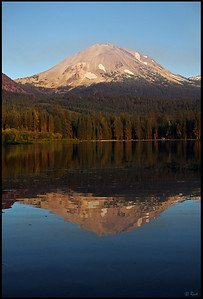Lassen Peak reflected in Manzanita Lake, sunset