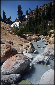 Gray-blue colored stream near Bumpass Hell