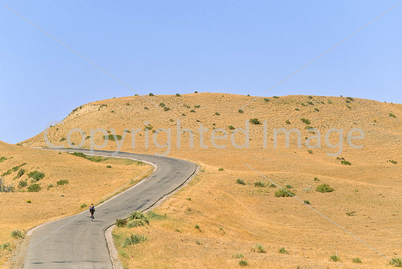 Cyclist at Little Bighorn Battlefield Nat  Monument in Montana - 15 - 72 ppi