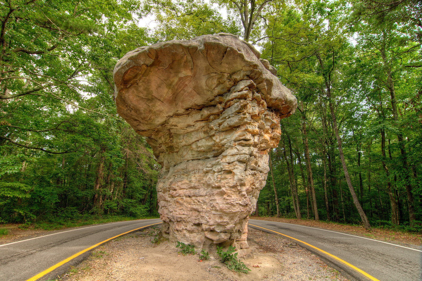 The road splits around Mushroom Rock at the Little River Canyon National Preserve in Mentone, AL on Sunday, July 19, 2015. Copyright 2015 Jason Barnette