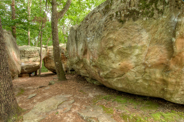 Giant boulders at Mushroom Rock at the Little River Canyon National Preserve in Mentone, AL on Sunday, July 19, 2015. Copyright 2015 Jason Barnette