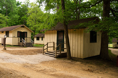 Cabins where you can stay the night.