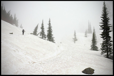 Hiking alone at Mt. Rainier, winter