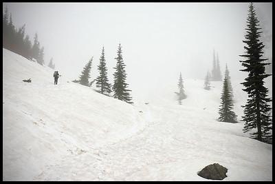 Hiking alone at Mt. Rainier, winter