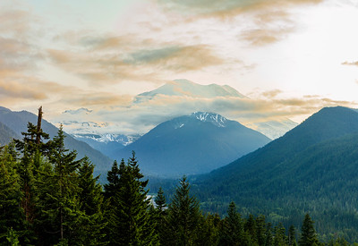 Sunset and Mist Over Mt. Rainier