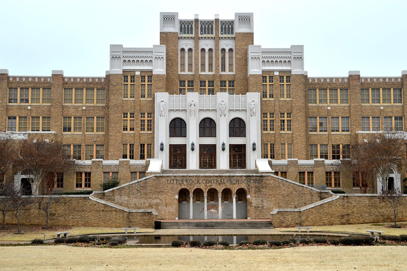 Little Rock Central High School in Little Rock National Historic Site, in Little Rock, Arkansas where, in 1957, this school was desegregated and integrated by federal troops at the order of the President of the United States.