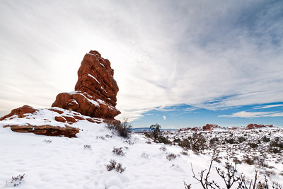 snow and red rock