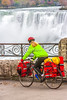 Touring cyclist viewing American side of Niagara Falls, NY-0619 - 72 ppi