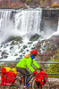 Touring cyclist viewing American side of Niagara Falls, NY-0411 - 72 ppi