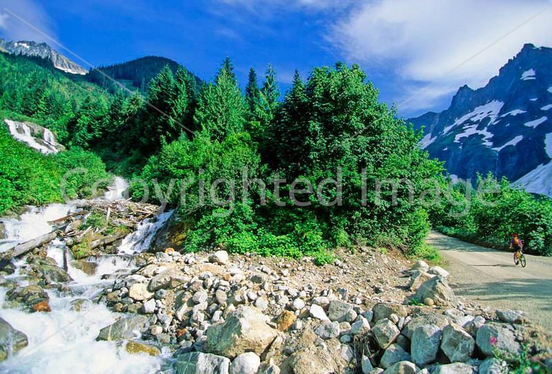Cyclist in Washington state's North Cascades National Park - B wa cascades 15 - 72 dpi