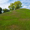 McDougal Mound - name for Captain Robert McDougal of nearby Fort Hawkins.  The mound was originally around 30 feet tall and 100 feet wide.  Nearly sixty percent of the mound was removed for road fill.  The mound was built somewhere between 900 and 1350 AD.