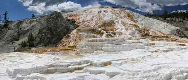 Palette Spring - Mammoth Hot Springs Yellowstone NP 20D with Tamron 24-135 SP, Cokin Circular Polarizer - 5 Vertical frames stiched together.