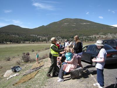 Ranger Don talks to visitors at Sheep Lakes