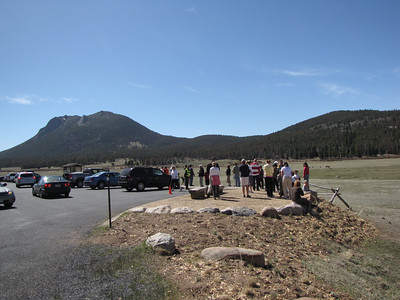 Viewers looking out among the Bighorn and Elk at Sheep Lakes