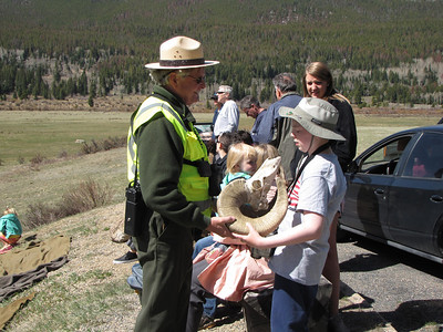 Ranger Don explains the history and biology of the Bighorn at Sheep Lakes