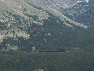 July 2008 - GMA's first trip to RMNP - views from Trail Ridge Drive - at the scenic overlook - I zoomed in on the lake across the way - it's in a part of the park that has never been touched by man