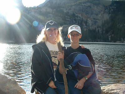 October 2007 - Tony and me at Bear Lake - Tony is holding a stick he found and he later varnished