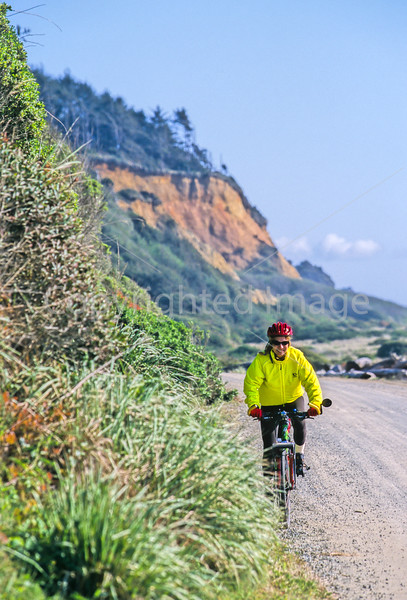 Cyclist at California's Redwood National Park - 16-2-14 - 72 ppi