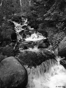 Waterfall in a Stream (B&W) (I)