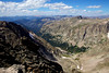 Looking west from the summit of Mt. Alice, the North Inlet valley stretches far below. Almost all the land seen here is within the Rocky Mountain National Park.