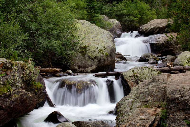 St. Vrain Creek flows down Copeland Falls near the Wild Basin trailhead in Rocky Mountain National Park.