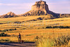 Touring cyclist on Oregon Trail at Scotts Bluff National Monument in Nebraska - 3-2 - 72 ppi