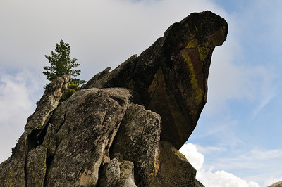 Jagged rocks that are part of the Moro Rock peak.
