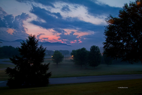 Sunrise at the Smokey's.  Taken outside our motel room.