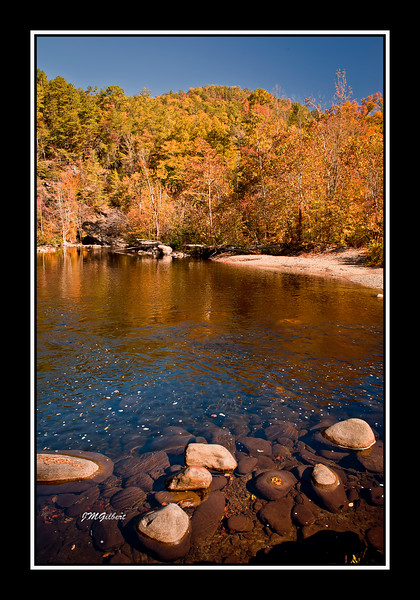 NJG3408: This picture was taken at the intersection of 73 and Little River Road.  As we came around the corner we immediately noticed the fall colors being reflected off the water.  It was time to stop and set up the equipment.