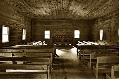 Interior, Cades Cove Primitive Baptist Church in sepia tone B&W  Camera: Nikon D3s, 24-85mm f2.8 lens, Moose Peterson Circular polarizing + warm filter, Gitzo tripod + Arca Swiss ball head; ISO at 200