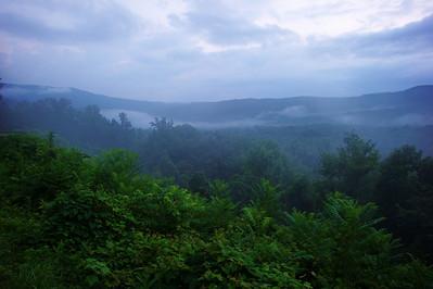 The blue haze (smoke) of the mountains   Camera: Nikon D3s, 24-85mm f2.8 lens, Moose Peterson Circular polarizing + warming filter, Gitzo tripod + Arca Swiss ball head; ISO at 200  Manual Exposure Mode, Manual Focus