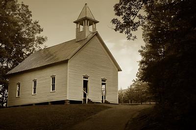 Cades Cove Methodist Church in Sepia B&W, 1902   Camera: Nikon D3s, 24-85mm f2.8 lens, Moose Peterson Circular polarizing + warm filter, Gitzo tripod + Arca Swiss ball head; ISO at 200
