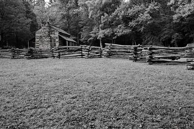 John Oliver cabin in B&W;  1826   Camera: Nikon D3s, 24-85mm f2.8 lens, Moose Peterson Circular polarizing + warm filter, Gitzo tripod + Arca Swiss ball head; ISO at 200
