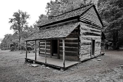John Oliver cabin in B&W, 1826   Camera: Nikon D3s, 24-85mm f2.8 lens, Moose Peterson Circular polarizing + warm filter, Gitzo tripod + Arca Swiss ball head; ISO at 200