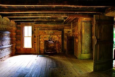 Interior John Oliver cabin, 1826   Camera: Nikon D3s, 24-85mm f2.8 lens, Moose Peterson Circular polarizing + warm filter, Gitzo tripod + Arca Swiss ball head; ISO at 200