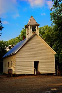Cades Cove Primitive Baptist Church, 1839   Camera: Nikon D3s, 24-85mm f2.8 lens, Moose Peterson Circular polarizing + warm filter, Gitzo tripod + Arca Swiss ball head; ISO at 200