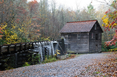 The Mingus Mill overflowing after a heavy rain.
