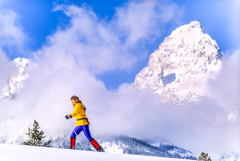 Cross-country skier before Teton Mountain Range near Jackson, Wyoming - 7 - 72 ppi