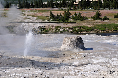 The Beehive Geyser's indicator suddenly spews water. This means it will erupt in 10-15 minutes. This is an extremely hard to predict geyser and we will be lucky to see it.