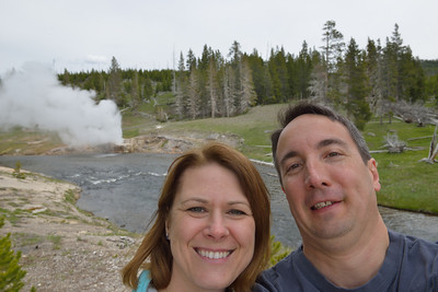 Self group portrait at riverside geyser