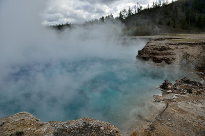 Excelsior Geyser. Pumps over 4,000 gallons of water into the firehole river daily