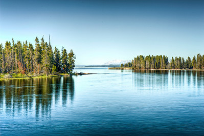 Surreal HDR version of Yellowstone Lake, taken from the Fishing Bridge.