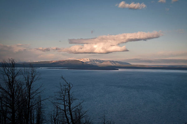 Butte Overlook-Yellowstone Lake-Morning Shoot:  To the far left is the Tetons to the right of the Tetons is Ft. Mountain.  In the center is Mt. Sheridan and to the right of Sheridan is Frank island.  The Tetons are approximately 2 hours from this vantage point.