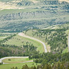Chief Joseph Scenic By-way overlook. Close up of the winding road.