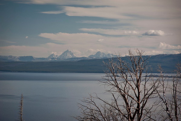 Tighter shot of the Tetons from the Butte Overlook of Yellowstone Lake.  Taken in the evening around 7PM.  In Yellowstone it does not get really dark until 9 or 10 oclock.